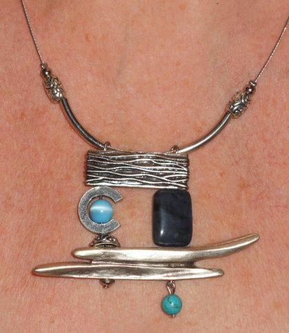 Abstract Pendant With Turquoise And Lapis Lazuli Project