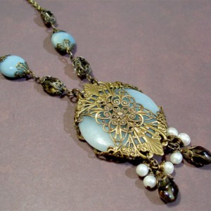 Amazonite Necklace With Smoky Quartz And Pearls Jewelry Idea