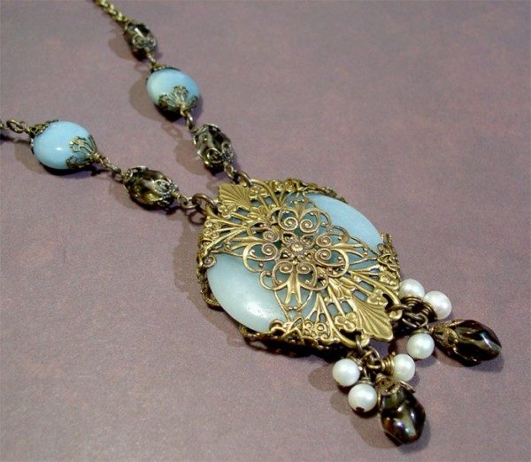 Amazonite Necklace With Smoky Quartz And Pearls Project