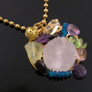 Collage Pendant With White Crystal Agate Druzy Project