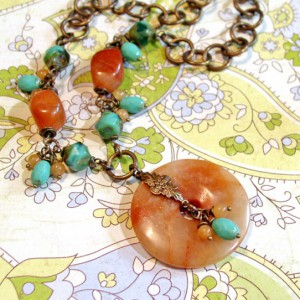 Turquoise And Orange Chunky Boho Donut Necklace Jewelry Idea