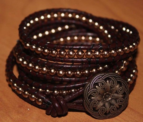 Chocolate & Gold Wrap Bracelet