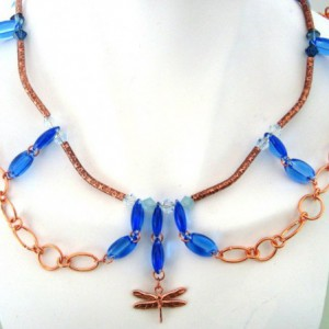 City Necklace – Copper and Blue Swarovski