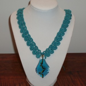 Teal Crocheted Necklace Project Idea