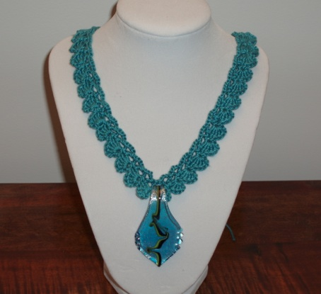 Teal Crocheted Necklace