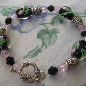 Glass Rose Bracelet Jewelry Idea