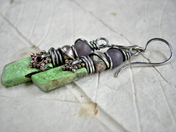 Natural Gaspeite Earrings with Hand Cut Stone Project