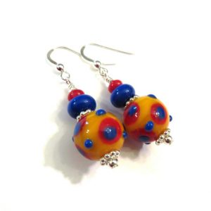 Orange, Red and Blue Polka Dot Lampwork Earrings Project