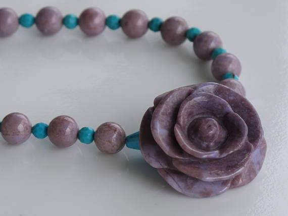 Purple Jade and Turquoise Necklace With Carved Rose Project